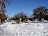следы на снегу в парке