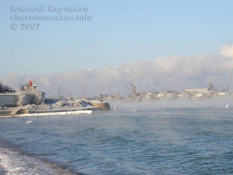 Леденящий пейзаж Чёрного моря в Черноморске